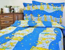 VERATEX Dětské povlečení krep LUX 45x64-90x130 modré žirafky