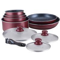 Herzberg HG-5000: Herzberg HG-5000: 10-dílná sada nádobí s mramorovým povrchem Burgundy