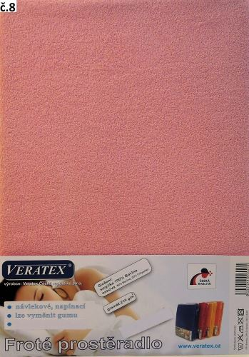 VERATEX Froté prostěradlo 160x200/16 cm (č. 8-růžová)
