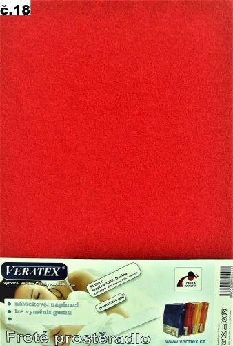 VERATEX Froté prostěradlo  90x220cm (č.18-červená)