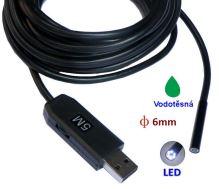 Inspekční kamera 5,5mm / délka 5m vodotěsná s osvětlením - endoskop s USB připojením k PC a Android  HIC-0505