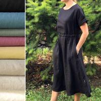 Aesthetic Lněné dámské šaty ARTLINE - 100% len, gramáž 245g/m2 - mix barev Barva: Petrol