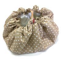 Aesthetic Hnízdo pro miminka 3v1, stahovací vak na hračky, Hrací kruhová podložka plátno/plátno (puntík béžová/bílá)