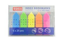 Plastové zvýrazňující samolepící záložky EASY (12x45mm) - 125 lístků mix barev - 5905339489302