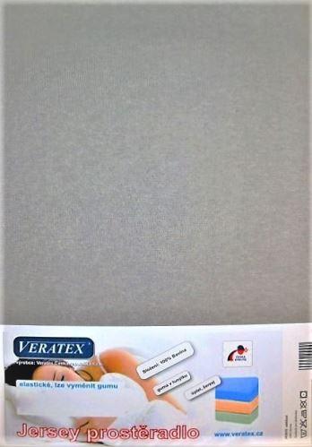 VERATEX Jersey prostěradlo 180x200/15 cm (č. 4-šedá)