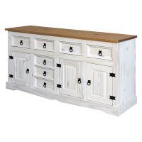 Komoda 3 dveře + 7 zásuvek CORONA bílý vosk IDEA nábytek