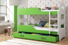 FALCO Patrová postel Domino 90x200 bílá/zelená - 0317021205