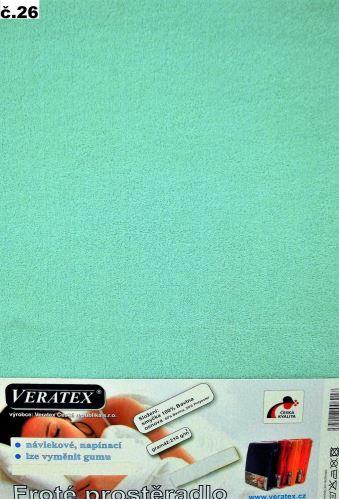 VERATEX Froté prostěradlo 100x220 cm (č.26-tyrkysová)