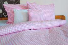 VERATEX Tkané bavlněné povlečení prodloužené LUX 70x90 + 140x220 cm kanafas růžové srdíčko