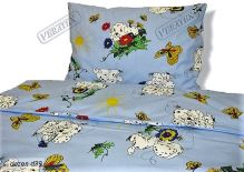 VERATEX Dětské bavlněné povlečení LUX 45x64-90x130 modrý dalmatin SKLADEM POSLEDNÍ 1KS