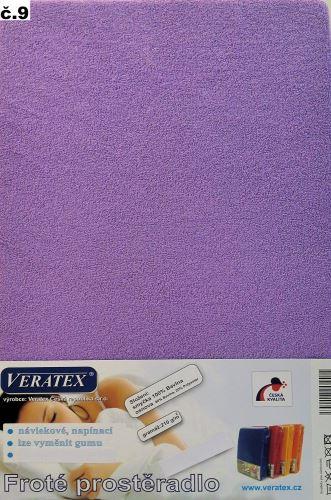 VERATEX Froté prostěradlo  90x210 cm (č. 9-tm.fialová)