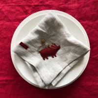 Aesthetic Lněný jídelní ubrousek - 100% len přírodní vánoce