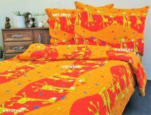VERATEX Dětské povlečení krep LUX 45x64 90x130 červené žirafky