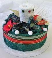 VERATEX Veratex Textilní dort svícen tm.zelený/ bílý 2x ručník
