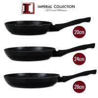 Imperial Collection IM-FFMT:  Sada 3 kusů pánví potažené mramorem (20 cm, 24 cm, 28 cm) Black