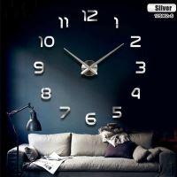 Velké nástěnné hodiny 80-120 cm stříbrné 12 číslic