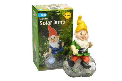 Zahradní trpaslík z odolného plastu s LED diodou a solárním dobíjením