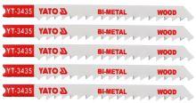 Yato List pilový do přímočaré pily 100 mm na dřevo TPI6 5 ks Bi-Metal YT-3435