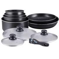 Herzberg HG-5000: Herzberg HG-5000: 10-dílná sada nádobí s mramorovým povrchem  Black