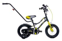 Kolo pro chlapce Tyčové kolo s úhlopříčkou 12 palců a posunovačem černo - žlutě - šedé