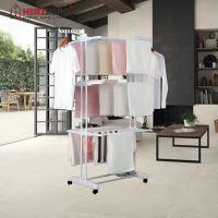 Herzberg HG-8034WHT: Stojan na oděvy Moving Clothes Rack - billá