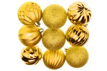 Tvarované vánoční koule FLORA (6cm) 9ks - Zlaté - 8584159069153