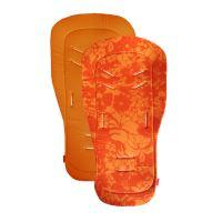 Aesthetic Podložka do kočárku oboustranná s bambusovou výplní - HAWAI - Oranžový květ len / oranžová bavlna