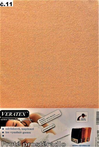 VERATEX Froté prostěradlo dvoulůžko 180x200/16cm (č.11-lososová)