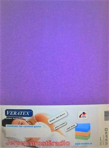 VERATEX Jersey prostěradlo  jednolůžko 90x200/15 cm (č. 9-tm.fialová)