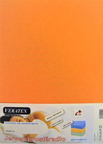 VERATEX Jersey prostěradlo 90x220 cm (č.20-meruňková)