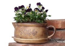 Keramický květináč na bylinky - varianta C - včetně podmisky