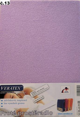 VERATEX Froté prostěradlo jednolůžko 90x200/20cm (č.13-fialková)