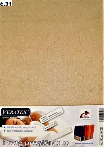 VERATEX Froté prostěradlo 200x220 cm (č.31-sv.hnědá)