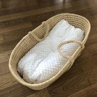 Aesthetic Hnízdo pro miminko péřové-podložka - minky - smetanová / bavlněné plátno - bílá
