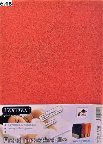 VERATEX Froté prostěradlo 100x220 cm (č.16 malina)