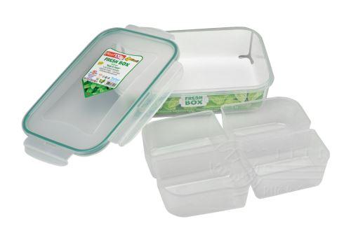 Plastový box se silikonovým těsněním a 4x vyndávacím vnitřkem PLAST ART 1l (6x21,5x15cm) - 8696219364945