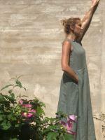 Aesthetic Lněné šaty dlouhé 100% len - khaki