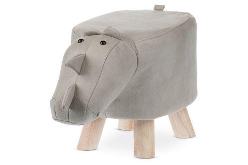 Taburet - nosorožec, potah světle šedá látka v dekoru kůže, masivní nohy z kaučukovníku v přírodním odstínu, LA2015