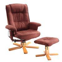 Relaxační masážní křeslo s podnožkou hnědé K47 IDEA nábytek