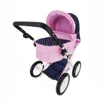 Kočárek pro panenky s polohovací rukojetí modro/růžový s puntíky (8590687201347)