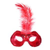Červená škraboška / maska s pírkem (8590687207233)