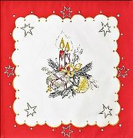 VERATEX Prostírka svíčky 30x30cm červená 100% bavlna