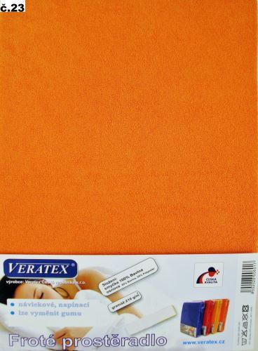 VERATEX Froté prostěradlo jednolůžko 90x200/16cm (č.23-oranžová)