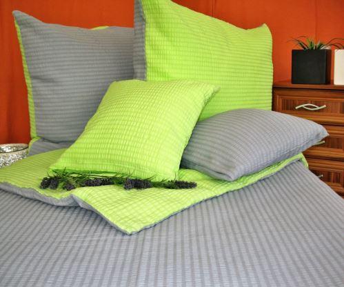 VERATEX Krepové povlečení prodloužené šedá/žlutozelená 2x70x90 + 240x200 cm