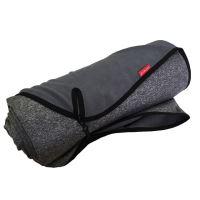 Aesthetic Softshellová pikniková deka - šedá melange s černým lemem Rozměr: 145x200 cm - velká  s popruhem
