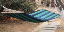 DIMENZA zahradní látková houpací síť s výztuhou v mnoha barevných provedeních Barva: modrá s pruhy - DF-003274