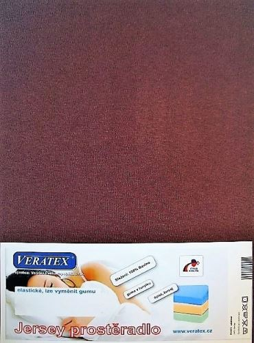 VERATEX Jersey prostěradlo 200x200 cm (č.33-hnědá)