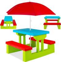 Zahradní piknikový stůl pro děti s deštníkem a zeleno-červenými lavicemi