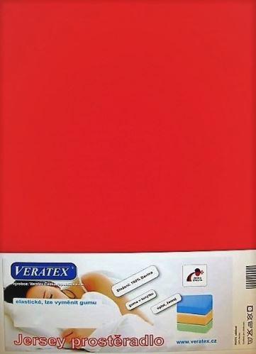 VERATEX Jersey prostěradlo 180x200/15 cm (č.18-červená)