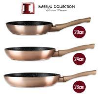Imperial Collection IM-FFMT:  Sada 3 kusů pánví potažené mramorem (20 cm, 24 cm, 28 cm) Copper